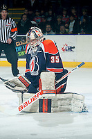 KELOWNA, CANADA - FEBRUARY 6: Cole Kehler #35 of Kamloops Blazers keeps his eye on the puck against the Kelowna Rockets on February 6, 2015 at Prospera Place in Kelowna, British Columbia, Canada.  (Photo by Marissa Baecker/Shoot the Breeze)  *** Local Caption *** Cole Kehler;