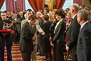 PRESIDENT NICOLAS SARKOZY; JACQUELINE DE RIBES. Legion d'honneur awards. Elysee Palace, Presidence. Rue du Faubourg. 50 Rue de la Bienfaisance. Paris. 07 April 2010