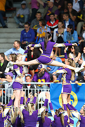 12.06.2011, Hohe Warte, Wien, AUT, AFL Halbfinale, Raiffeisen Vikings vs Turek Graz Giants, im Bild Stunt der  Cheerleader Vikings, (Raiffeisen Vikings, Cheer Team) ,  EXPA Pictures © 2011, PhotoCredit: EXPA/ T. Haumer