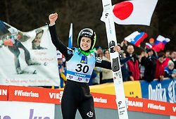 Third placed Ursa Bogataj of Slovenia celebrates during Trophy ceremony after the 2nd Round at Day 1 of World Cup Ski Jumping Ladies Ljubno 2019, on February 8, 2019 in Ljubno ob Savinji, Slovenia. Photo by Matic Ritonja / Sportida