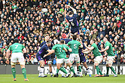 Ryan wilson misses lineout ball during the 6 Nations match between Scotland and Ireland at Murrayfield, Edinburgh, Scotland on 9 February 2019.