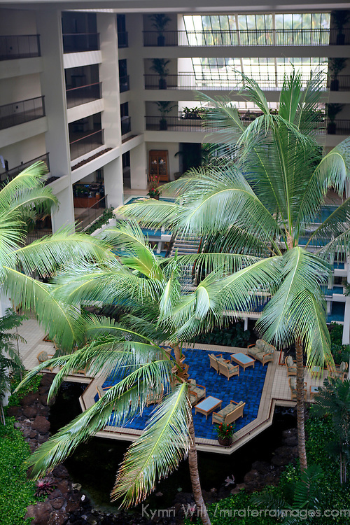 USA, Hawaii, Kamuela. Atrium of the Mauna Lani Bay Hotel.