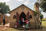 A sunday church service is held on November 26, 2017 at a church in Nagero, home to Garamba National Park Headquarters.