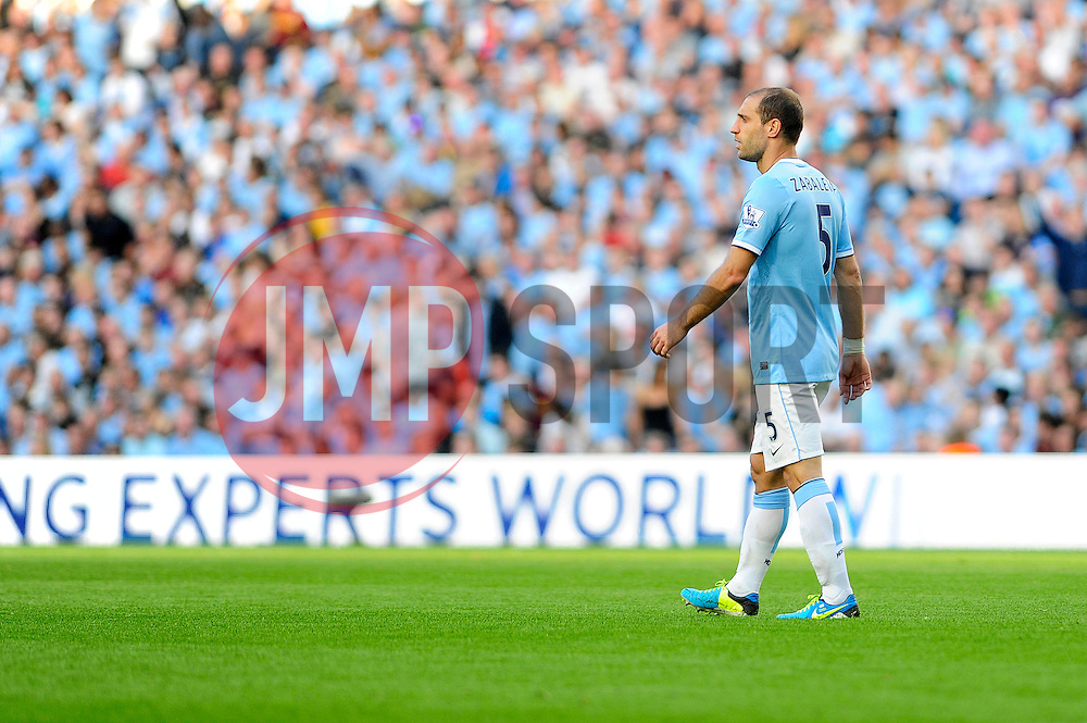Manchester City's Pablo Zabaleta - Photo mandatory by-line: Dougie Allward/JMP - Tel: Mobile: 07966 386802 22/09/2013 - SPORT - FOOTBALL - City of Manchester Stadium - Manchester - Manchester City V Manchester United - Barclays Premier League