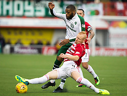 CelticÕs Olivier Ntcham and HamiltonÕs Ziggy Gordon (front) battle for the ball during the Ladbrokes Scottish Premiership match at Hope CBD Stadium, Hamilton.