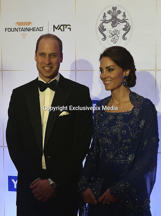 April 10, 2016 - Mumbai, INDIA - <br /> <br /> Britain's Prince William, and his wife, Kate, the Duchess of Cambridge, pose after they arrive for a charity ball at the Taj Mahal Palace hotel  in Mumbai, India, Sunday, April 10, 2016. The royal couple began their weeklong visit to India and Bhutan, by laying a wreath at a memorial Sunday at Mumbai iconic Taj Mahal Palace hotel, where 31 victims of the 2008 Mumbai terrorist attacks were killed. <br /> ©Exclusivepix Media
