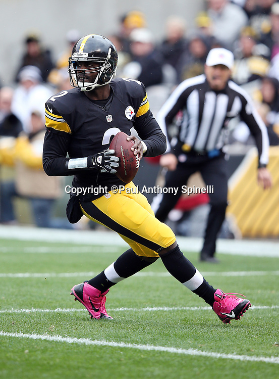 Pittsburgh Steelers quarterback Mike Vick (2) drops back to pass in his own end zone during the 2015 NFL week 6 regular season football game against the Arizona Cardinals on Sunday, Oct. 18, 2015 in Pittsburgh. The Steelers won the game 25-13. (©Paul Anthony Spinelli)