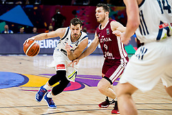 Goran Dragic of Slovenia vs Dairis Bertans of Latvia during basketball match between National Teams of Slovenia and Latvia at Day 13 in Round of 16 of the FIBA EuroBasket 2017 at Sinan Erdem Dome in Istanbul, Turkey on September 12, 2017. Photo by Vid Ponikvar / Sportida