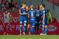 Fotball<br /> 28.05.2017<br /> Eliteserien<br /> Brann Stadion<br /> Brann - Aalesund<br /> Steffen Lie Skålevik (L) , Brann<br /> Lars Veldwijk (6R) , Fredrik Carlsen (4R) , Edwin Oppong Anane-Gyasi (3R) , Kaj Ramsteijn (2R) og Mostafa Abdellaoue (R) , Aalesund feirer scoring og poengdeling på Brann Stadion<br /> Dommer Ola Hobber Nilsen (5R)<br /> Foto: Astrid M. Nordhaug