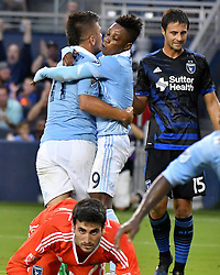 Sporting Kansas City's Diego Rubio is congratulated by Latif Blessing after Rubio scored in the first half against the San Jose Earthquakes during the U.S. Open Cup semifinals at Children's Mercy Park in Kansas City, Kan., on Wednesday, Aug. 9, 2017. (Photo by John Sleezer/Kansas City Star/TNS/Sipa USA) *** Please Use Credit from Credit Field ***