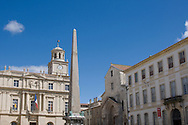 The Place de la Republic and St Trophime Cathedral in Arles, France