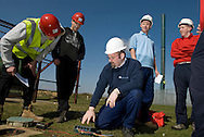 UK. Norfolk, Bircham Newton. The National Construction College East.  Established in 1966 by CITB the college covers over 450 acres of training area, much of which is put to use for practical operative training. More than 4 acres of covered facilities allow training to be carried out all year round. The courses are run by experienced, qualified instructors all of whom have worked in the construction industry..Photo shows students and teacher on a Lightening Conductor Engineering course..Photo©Steve Forrest/Workers Photos