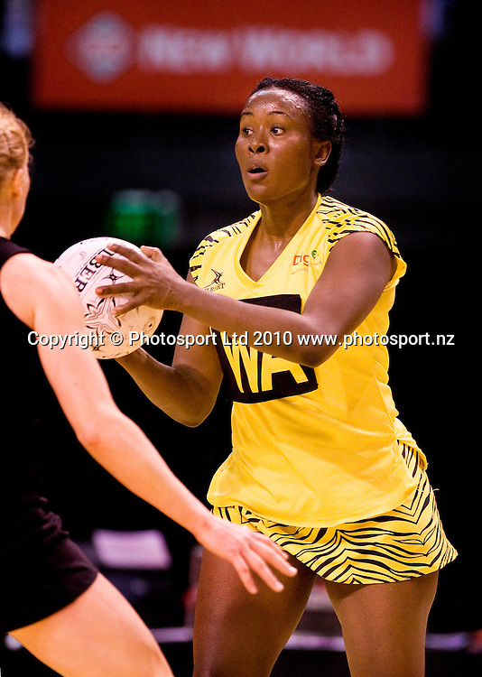 Jamaica's Sasher-Gaye Henry with the ball. New World International Netball, New Zealand Silver Ferns v Jamaica. CBS Arena, Christchurch, Wednesday 18 August 2010. Photo: Joseph Johnson/PHOTOSPORT