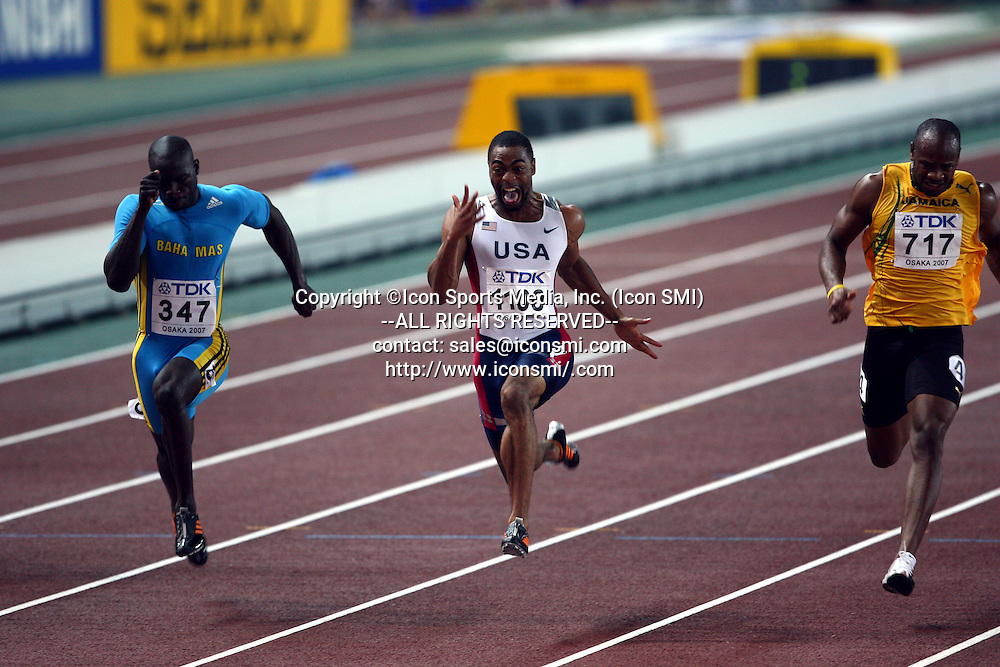 (L to R) Derrick Atkins (BAH) ,Tyson Gay (USA),<br /> Asafa Powell (JAM),<br /> AUGUST 26, 2007 - Athletics : 11th IAAF World Championships in Athletics Osaka 2007, Men's 100m <br /> Final at Nagai Stadium, Osaka, Japan.