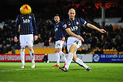 Adam Barrett of Southend United clears the danger during the Sky Bet League 1 match between Port Vale and Southend United at Vale Park, Burslem, England on 26 February 2016. Photo by Mike Sheridan.