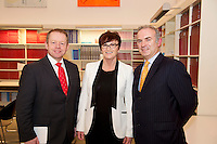 Minister Ciaran Cannon TD , Caroline Healy Medtronic and Bernard Kirk Galway Education centre   at The Galway Education Centre for the launch of the annual Medtronic Foundation Programme. The programme which has been in existence for over ten years now includes the Medtronic Healthy Living Initiative, The Medtronic Scientist of The Future Project and The Medtronic KNEX Challenge..As part of their Healthy Living Initiative, The Medtronic Foundation partners with The Galway Education Centre to run a number of programmes in Galway City and County schools. In 2012, the Medtronic Foundation Community Connections programme included  gymnastics and skipping while a number of schools took part in the schools garden project. Perhaps the most ambitious was the heart dissection initiative which saw Medtronic staff in the classroom taking children as young as 6, step by step through a heart dissection!