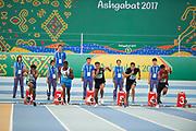 Ashgabat, Turkmenistan - 2017 September 19:<br /> while Indoor Athletics competition during 2017 Ashgabat 5th Asian Indoor &amp; Martial Arts Games at Indoor Athletics Arena (ATH) at Ashgabat Olympic Complex on September 19, 2017 in Ashgabat, Turkmenistan.<br /> <br /> Photo by &copy; Adam Nurkiewicz / Laurel Photo Services