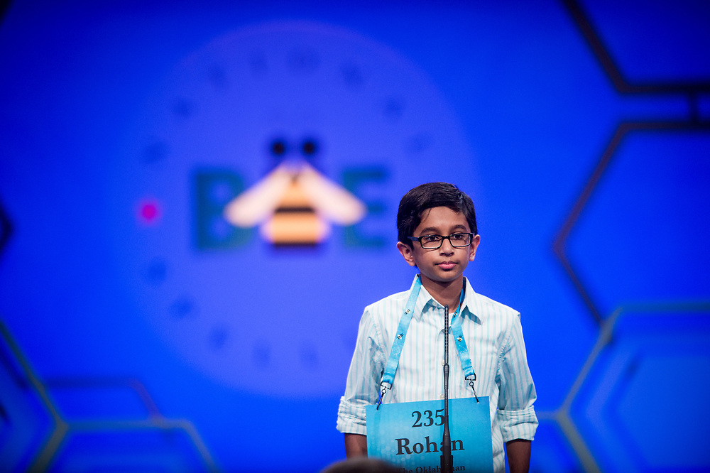 Rohan Rajeev, 14, from Edmond, Okla., participates in the finals of the 2017 Scripps National Spelling Bee on Thursday, June 1, 2017 at the Gaylord National Resort and Convention Center at National Harbor in Oxon Hill, Md.      Photo by Pete Marovich/UPI