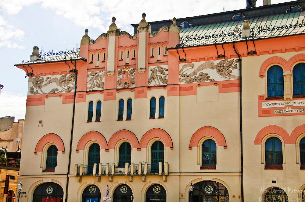 Building on Plac Szczepa?ski in Krakow, Poland.