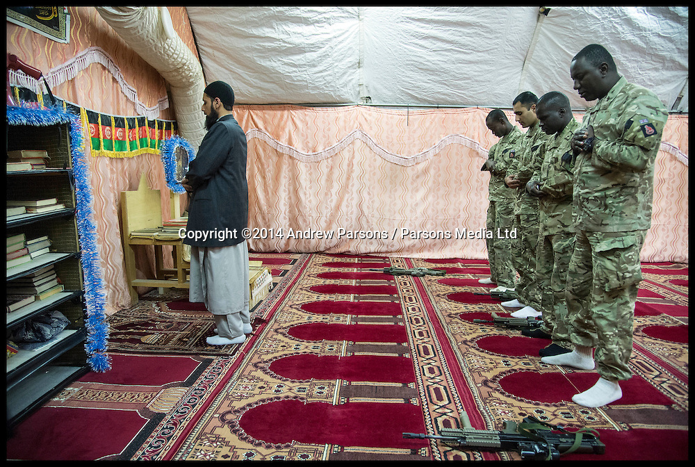 MOD Imam Asim Hafiz taking Friday Prays in Mosque at Camp Bastion in Afghanistan with British Muslim Soldiers, Friday 24 January 2014, Picture by Andrew Parsons / Parsons Media Ltd