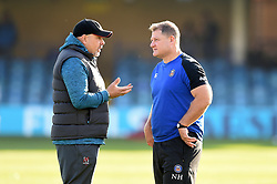 Ulster Head Coach Dan McFarland speaks with Bath Rugby Assistant Coach Neal Hatley prior to the match - Mandatory byline: Patrick Khachfe/JMP - 07966 386802 - 16/11/2019 - RUGBY UNION - The Recreation Ground - Bath, England - Bath Rugby v Ulster Rugby - Heineken Champions Cup