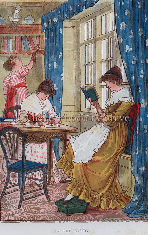 Activity for girls - Reading and writing. Print 1884.