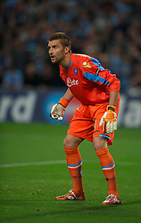 MANCHESTER, ENGLAND - Wednesday, September 14, 2011: SSC Napoli's Morgan De Sanctis during the UEFA Champions League Group A match at the City of Manchester Stadium. (Photo by Chris Brunskill/Propaganda)