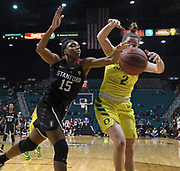 Stanford Cardinal forward Maya Dodson (15) and Oregon Ducks guard Morgan Yaeger (2) battles for a loose ball in the  second half of the championship game of the Pac-12 Conference women's basketball tournament Sunday, Mar. 10, 2019 in Las Vegas.  Stanford defeated Oregon 64-57. (Gerome Wright/Image of Sport)