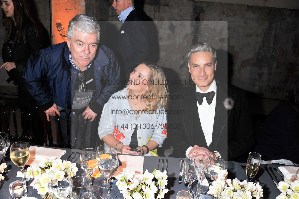 Left to right, TIM BLANKS, ANNETTE CREMIN and CAMERON SILVER at a dinner hosted by Jonathan Saunders, Fantastic Man & Selfridges to celebrate Jonathan Saunders AW13 Menswear collection and London Collections held at the Old Selfridges Hotel,  Orchard Street, London on 8th January 2013.