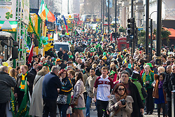 London, March 13th 2016. The annual St Patrick's Day Parade takes place in the Capital with various groups from the Irish community as well as contingents from other ethnicities taking part in a procession from Green Park to Trafalgar Square.  PICTURED: A general view of the crowd prior to the beginning of the procession. ©Paul Davey<br /> FOR LICENCING CONTACT: Paul Davey +44 (0) 7966 016 296 paul@pauldaveycreative.co.uk