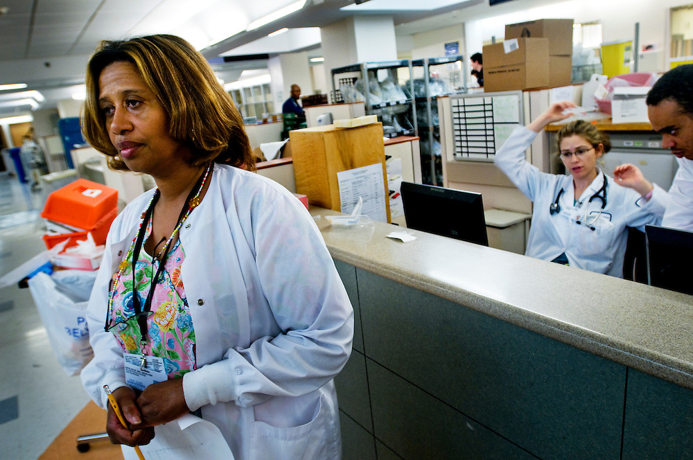 Brenda NG (?) Nurse at the ER at New York Downtown Hospital..Photographer: Chris Maluszynski /MOMENT