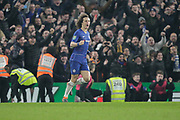 PENALTY GOAL Chelsea defender David Luiz (30) scores the winning penalty and celebrates during the EFL Cup semi final second leg match between Chelsea and Tottenham Hotspur at Stamford Bridge, London, England on 24 January 2019.