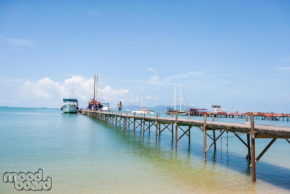 Ferry moored at Na Pra Lan Pier; Koh Samui; Thailand