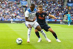 Ricardo Pereira of Leicester City takes on Ruben Vezo of Valencia - Mandatory by-line: Robbie Stephenson/JMP - 01/08/2018 - FOOTBALL - King Power Stadium - Leicester, England - Leicester City v Valencia - Pre-season friendly