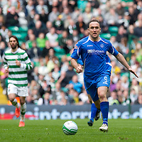 Celtic v St Johnstone....01.04.12   SPL<br /> Lee Croft pictured at Celtic Park during yesterday's game. Twitter messages were posted to his girlfriend Maria Fowler twitter saying they hoped Lee Croft 'drops down like Muamba' <br /> Picture by Graeme Hart.<br /> Copyright Perthshire Picture Agency<br /> Tel: 01738 623350  Mobile: 07990 594431