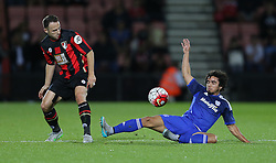 Fabio of Cardiff City and Marc Pugh of Bournemouth challenge for the ball - Mandatory by-line: Paul Terry/JMP - 07966386802 - 31/07/2015 - SPORT - FOOTBALL - Bournemouth,England - Dean Court - AFC Bournemouth v Cardiff City - Pre-Season Friendly