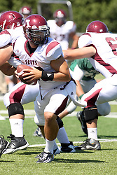 08 September 2012:  Quarterback Jarrett Leister during an NCAA division 3 football game between the Alma Scots and the Illinois Wesleyan Titans which the Titans won 53 - 7 in Tucci Stadium on Wilder Field, Bloomington IL