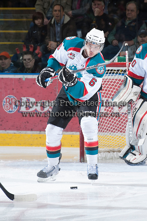 KELOWNA, CANADA - JANUARY 24:  Mitchell Wheaton #6 of the Kelowna Rockets makes a pass against the Seattle Thunderbirds at the Kelowna Rockets on January 24, 2013 at Prospera Place in Kelowna, British Columbia, Canada (Photo by Marissa Baecker/Shoot the Breeze) *** Local Caption ***