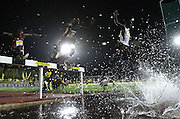 STELLENBOSCH, SOUTH AFRICA, Tuesday 20 March 2012, athletes at the water jump in the mens 3000m steeplechase during the Yellow Pages Series athletics meeting at the University of Stellenbosch Coetzenburg stadium..Photo by Roger Sedres/Image SA