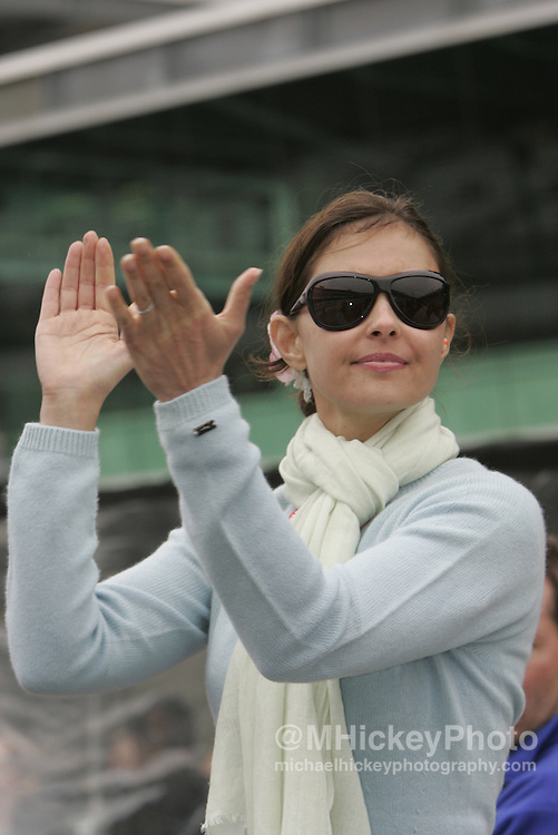 Ashley Judd applauds her husband Dario Franchitti in his qualifying effort, landing a front row starting position for the Indianapolis 500 Photo by Michael Hickey