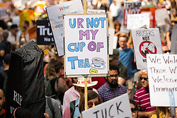 "© Licensed to London News Pictures . 13/07/2018. London, UK. Placard reading "" Ur not my cup of tea "" . Demonstrators march from Portland Place to Trafalgar Square in protest against US President Donald Trump's UK visit . Photo credit: Joel Goodman/LNP"