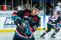 KELOWNA, CANADA - SEPTEMBER 22:  Ted Brennan #10 of the Kelowna Rockets warms up against the Kamloops Blazers on September 22, 2018 at Prospera Place in Kelowna, British Columbia, Canada.  (Photo by Marissa Baecker/Shoot the Breeze)  *** Local Caption ***