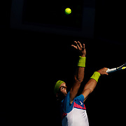 Rafael Nadal of Spain in action against Fernando Gonzalez of Chile at the Australian Tennis Open on January 26, 2009 in Melbourne, Australia. Photo Tim Clayton    .