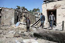 KABUL, Sept. 6, 2016 (Xinhua) -- Afghan security force members inspect at the site of car bombing in Kabul, capital of Afghanistan, Sept. 6, 2016. One civilian and four attackers were killed in a car bombing and ensuing gunfight on an international aid agency office in central Kabul, the interior ministry said on Tuesday. (Xinhua/Rahmat Alizadah).****Authorized by ytfs* (Credit Image: © Rahmat Alizadah/Xinhua via ZUMA Wire)
