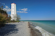 Lighthouse at Presqu'ile Point on Lake Ontario near Brighton<br /> Presqu'ile Provincial Park<br /> Ontario<br /> Canada