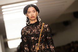 © Licensed to London News Pictures. 14/02/2020. London, UK.  London Fashion Week Autumn Winter 2020 - Yuhan Wang runway show - model on the catwalk.  Photo credit : Richard Isaac/LNP