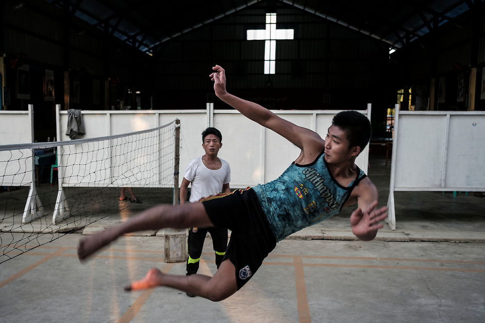 20170226 Myitkyina<br /> Clients play Chinlone, a popular local sport, at a Catholic  drug rehabilitation center in Myitkyina, Kachin State, Myanmar.<br /> Photo: Vilhelm Stokstad / Kontinent