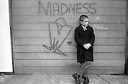 Neville Standing by Madness Graffiti, High Wycombe, UK, 1980s