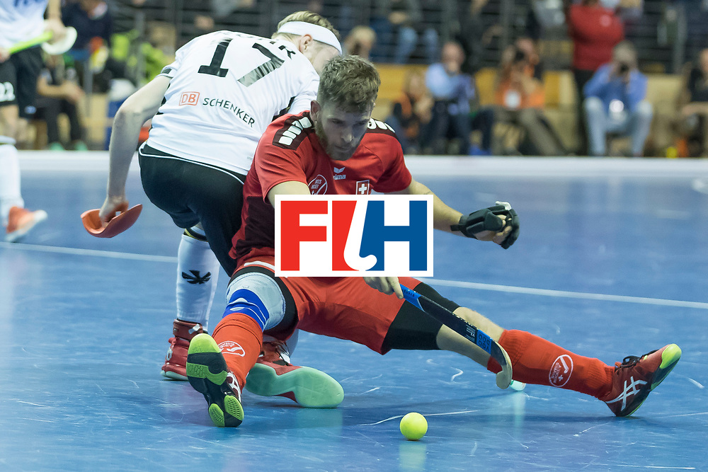 Hockey, Seizoen 2017-2018, 09-02-2018, Berlijn,  Max-Schmelling Halle, WK Zaalhockey 2018 MEN, Germany - Switzerland 3-0, Christopher Rühr and Yves Morard. Worldsportpics copyright Willem Vernes
