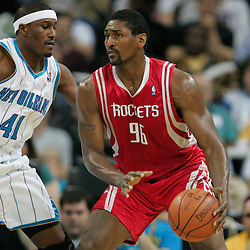16 March 2009: Houston Rockets forward Ron Artest (96) is defended by New Orleans Hornets forward James Posey (41) during a NBA game between the New Orleans Hornets and the Houston Rockets at the New Orleans Arena in New Orleans, Louisiana.